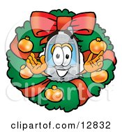 Wireless Cellular Telephone Mascot Cartoon Character In The Center Of A Christmas Wreath