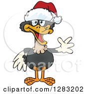 Poster, Art Print Of Friendly Waving Ostrich Wearing A Christmas Santa Hat