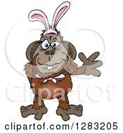 Friendly Waving Orangutan Monkey Wearing Easter Bunny Ears