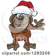Friendly Waving Orangutan Wearing A Christmas Santa Hat