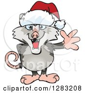 Friendly Waving Opossum Wearing A Christmas Santa Hat