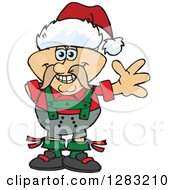 Clipart Of A Friendly Waving German Oktoberfest Man Wearing A Christmas Santa Hat Royalty Free Vector Illustration