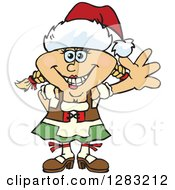 Clipart Of A Friendly Waving Blond Oktoberfest German Woman Wearing A Christmas Santa Hat Royalty Free Vector Illustration