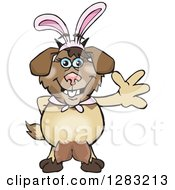 Clipart Of A Friendly Waving Nanny Goat Wearing Easter Bunny Ears Royalty Free Vector Illustration by Dennis Holmes Designs