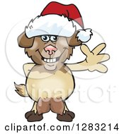 Clipart Of A Friendly Waving Nanny Goat Wearing A Christmas Santa Hat Royalty Free Vector Illustration