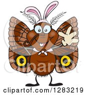 Clipart Of A Friendly Waving Moth Wearing Easter Bunny Ears Royalty Free Vector Illustration by Dennis Holmes Designs