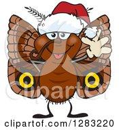 Clipart Of A Friendly Waving Moth Wearing A Christmas Santa Hat Royalty Free Vector Illustration