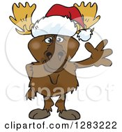 Friendly Waving Moose Wearing A Christmas Santa Hat