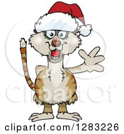 Clipart Of A Friendly Waving Meerkat Wearing A Christmas Santa Hat Royalty Free Vector Illustration by Dennis Holmes Designs