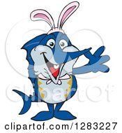 Clipart Of A Friendly Waving Marlin Fish Wearing Easter Bunny Ears Royalty Free Vector Illustration by Dennis Holmes Designs