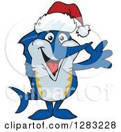 Clipart Of A Friendly Waving Marlin Fish Wearing A Christmas Santa Hat Royalty Free Vector Illustration
