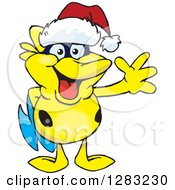 Clipart Of A Friendly Waving Yellow Marine Fish Wearing A Christmas Santa Hat Royalty Free Vector Illustration by Dennis Holmes Designs