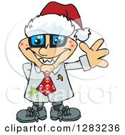Clipart Of A Friendly Waving Pimpled Blond White Male Mad Scientist Wearing A Christmas Santa Hat Royalty Free Vector Illustration