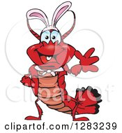 Clipart Of A Friendly Waving Lobster Wearing Easter Bunny Ears Royalty Free Vector Illustration by Dennis Holmes Designs