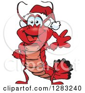 Clipart Of A Friendly Waving Lobster Wearing A Christmas Santa Hat Royalty Free Vector Illustration by Dennis Holmes Designs