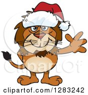 Friendly Waving Male Lion Wearing A Christmas Santa Hat