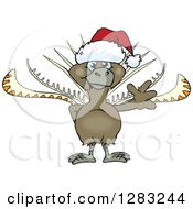 Clipart Of A Friendly Waving Lyrebird Wearing A Christmas Santa Hat Royalty Free Vector Illustration by Dennis Holmes Designs