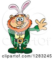 Clipart Of A Friendly Waving Leprechaun Wearing Easter Bunny Ears Royalty Free Vector Illustration