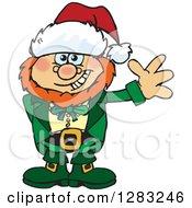 Clipart Of A Friendly Waving Leprechaun Wearing A Christmas Santa Hat Royalty Free Vector Illustration
