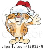 Clipart Of A Friendly Waving Leopard Wearing A Christmas Santa Hat Royalty Free Vector Illustration