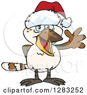 Clipart Of A Friendly Waving Kookaburra Bird Wearing A Christmas Santa Hat Royalty Free Vector Illustration by Dennis Holmes Designs