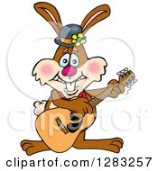 Happy Brown Easter Bunny Rabbit Playing An Acoustic Guitar