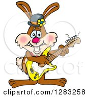 Happy Brown Easter Bunny Rabbit Playing An Electric Guitar