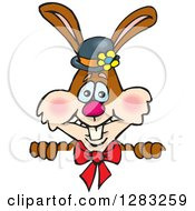 Happy Brown Easter Bunny Rabbit Wearing A Hat And Bow Over A Sign