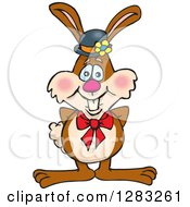 Clipart Of A Happy Brown Easter Bunny Rabbit Wearing A Hat And Bow Royalty Free Vector Illustration