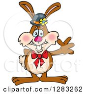 Friendly Waving Brown Easter Bunny Rabbit Wearing A Hat And Bow