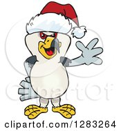 Clipart Of A Friendly Waving Kite Bird Wearing A Christmas Santa Hat Royalty Free Vector Illustration by Dennis Holmes Designs