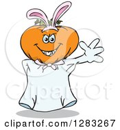 Clipart Of A Friendly Waving Jackolantern Ghost Wearing Easter Bunny Ears Royalty Free Vector Illustration by Dennis Holmes Designs