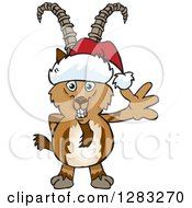 Clipart Of A Friendly Waving Ibex Goat Wearing A Christmas Santa Hat Royalty Free Vector Illustration by Dennis Holmes Designs