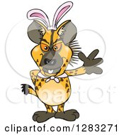 Clipart Of A Friendly Waving Hyena Wearing Easter Bunny Ears Royalty Free Vector Illustration