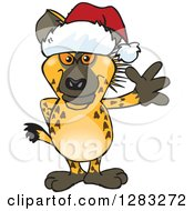 Clipart Of A Friendly Waving Hyena Wearing A Christmas Santa Hat Royalty Free Vector Illustration