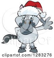Clipart Of A Friendly Waving Gray Horse Wearing A Christmas Santa Hat Royalty Free Vector Illustration by Dennis Holmes Designs