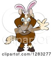 Clipart Of A Friendly Waving Brown Horse Wearing Easter Bunny Ears Royalty Free Vector Illustration by Dennis Holmes Designs