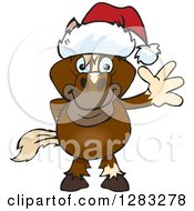 Clipart Of A Friendly Waving Brown Horse Wearing A Christmas Santa Hat Royalty Free Vector Illustration by Dennis Holmes Designs