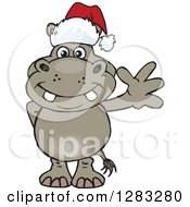 Clipart Of A Friendly Waving Hippo Wearing A Christmas Santa Hat Royalty Free Vector Illustration by Dennis Holmes Designs