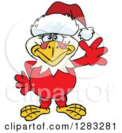 Clipart Of A Friendly Waving Hen Chicken Wearing A Christmas Santa Hat Royalty Free Vector Illustration by Dennis Holmes Designs