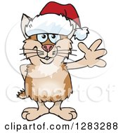 Clipart Of A Friendly Waving Hamster Wearing A Christmas Santa Hat Royalty Free Vector Illustration by Dennis Holmes Designs