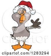 Clipart Of A Friendly Waving Goose Wearing A Christmas Santa Hat Royalty Free Vector Illustration by Dennis Holmes Designs