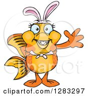 Clipart Of A Friendly Waving Fancy Goldfish Wearing Easter Bunny Ears Royalty Free Vector Illustration by Dennis Holmes Designs