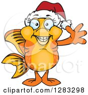 Clipart Of A Friendly Waving Fancy Goldfish Wearing A Christmas Santa Hat Royalty Free Vector Illustration by Dennis Holmes Designs