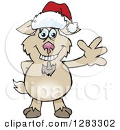 Clipart Of A Friendly Waving Goat Wearing A Christmas Santa Hat Royalty Free Vector Illustration by Dennis Holmes Designs