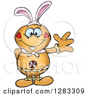 Clipart Of A Friendly Waving Gingerbread Man Wearing Easter Bunny Ears Royalty Free Vector Illustration