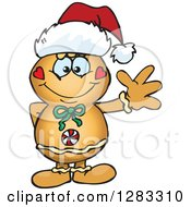 Clipart Of A Friendly Waving Gingerbread Man Wearing A Christmas Santa Hat Royalty Free Vector Illustration