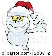 Clipart Of A Friendly Waving Ghost Wearing A Christmas Santa Hat Royalty Free Vector Illustration by Dennis Holmes Designs