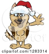 Clipart Of A Friendly Waving German Shepherd Dog Wearing A Christmas Santa Hat Royalty Free Vector Illustration