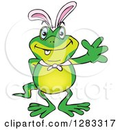 Clipart Of A Friendly Waving Gecko Wearing Easter Bunny Ears Royalty Free Vector Illustration by Dennis Holmes Designs